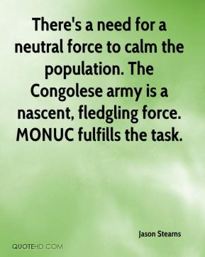 Jason Stearns  - There's a need for a neutral force to calm the population. The Congolese army is a nascent, fledgling force. MONUC fulfills the task.