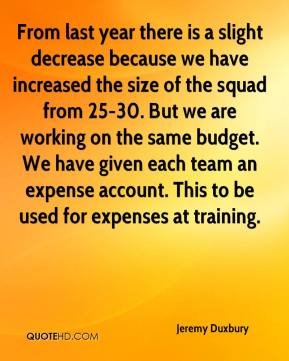 Jeremy Duxbury  - From last year there is a slight decrease because we have increased the size of the squad from 25-30. But we are working on the same budget. We have given each team an expense account. This to be used for expenses at training.