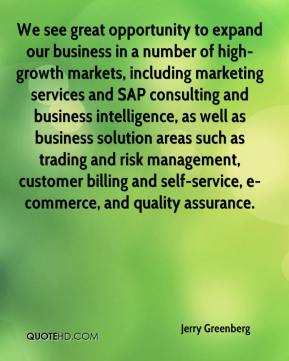 Jerry Greenberg  - We see great opportunity to expand our business in a number of high-growth markets, including marketing services and SAP consulting and business intelligence, as well as business solution areas such as trading and risk management, customer billing and self-service, e-commerce, and quality assurance.