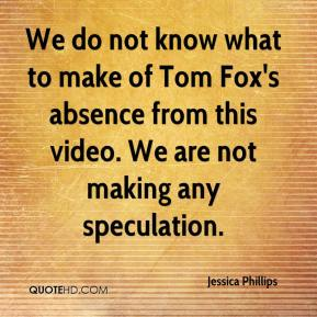 We do not know what to make of Tom Fox's absence from this video. We are not making any speculation.