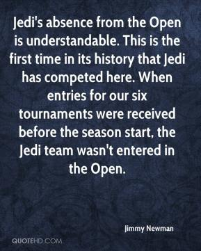 Jedi's absence from the Open is understandable. This is the first time in its history that Jedi has competed here. When entries for our six tournaments were received before the season start, the Jedi team wasn't entered in the Open.