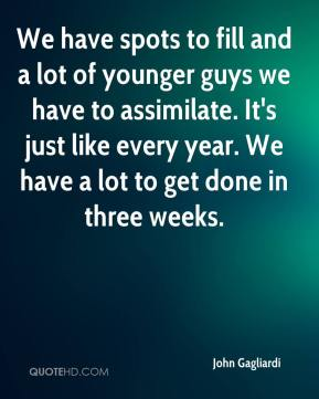 John Gagliardi  - We have spots to fill and a lot of younger guys we have to assimilate. It's just like every year. We have a lot to get done in three weeks.