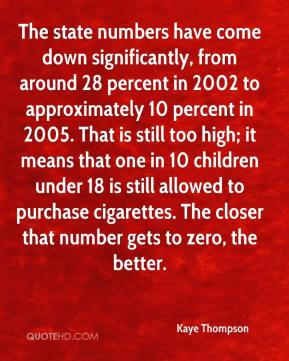 Kaye Thompson  - The state numbers have come down significantly, from around 28 percent in 2002 to approximately 10 percent in 2005. That is still too high; it means that one in 10 children under 18 is still allowed to purchase cigarettes. The closer that number gets to zero, the better.