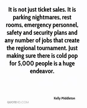 Kelly Middleton  - It is not just ticket sales. It is parking nightmares, rest rooms, emergency personnel, safety and security plans and any number of jobs that create the regional tournament. Just making sure there is cold pop for 5,000 people is a huge endeavor.