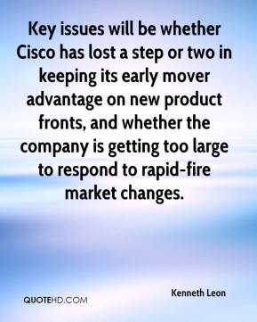 Kenneth Leon  - Key issues will be whether Cisco has lost a step or two in keeping its early mover advantage on new product fronts, and whether the company is getting too large to respond to rapid-fire market changes.