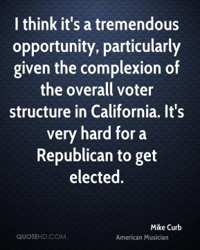 Mike Curb - I think it's a tremendous opportunity, particularly given the complexion of the overall voter structure in California. It's very hard for a Republican to get elected.