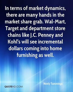In terms of market dynamics, there are many hands in the market share grab. Wal-Mart, Target and department store chains like J.C. Penney and Kohl's will see incremental dollars coming into home furnishing as well.