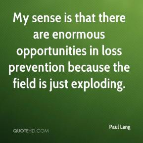 My sense is that there are enormous opportunities in loss prevention because the field is just exploding.