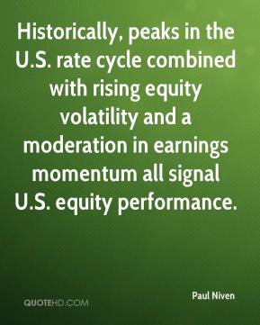 Paul Niven  - Historically, peaks in the U.S. rate cycle combined with rising equity volatility and a moderation in earnings momentum all signal U.S. equity performance.