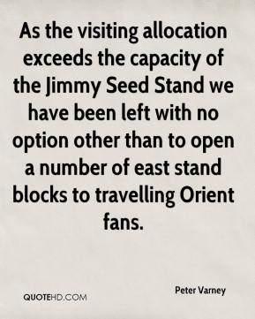 Peter Varney  - As the visiting allocation exceeds the capacity of the Jimmy Seed Stand we have been left with no option other than to open a number of east stand blocks to travelling Orient fans.