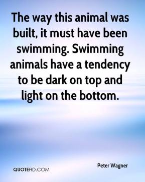 Peter Wagner  - The way this animal was built, it must have been swimming. Swimming animals have a tendency to be dark on top and light on the bottom.