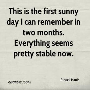 Russell Harris  - This is the first sunny day I can remember in two months. Everything seems pretty stable now.