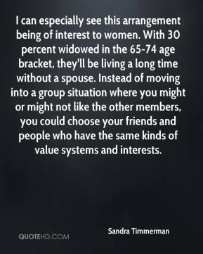 Sandra Timmerman  - I can especially see this arrangement being of interest to women. With 30 percent widowed in the 65-74 age bracket, they'll be living a long time without a spouse. Instead of moving into a group situation where you might or might not like the other members, you could choose your friends and people who have the same kinds of value systems and interests.
