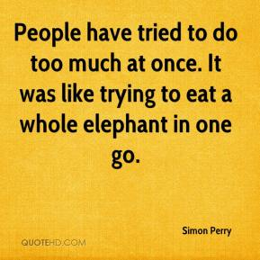 Simon Perry  - People have tried to do too much at once. It was like trying to eat a whole elephant in one go.