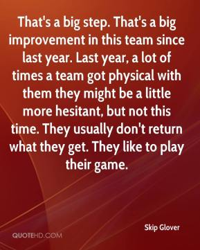 Skip Glover  - That's a big step. That's a big improvement in this team since last year. Last year, a lot of times a team got physical with them they might be a little more hesitant, but not this time. They usually don't return what they get. They like to play their game.