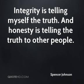 Integrity is telling myself the truth. And honesty is telling the truth to other people.