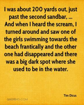 Tim Dicus  - I was about 200 yards out, just past the second sandbar, ... And when I heard the scream, I turned around and saw one of the girls swimming towards the beach frantically and the other one had disappeared and there was a big dark spot where she used to be in the water.
