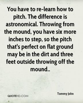 You have to re-learn how to pitch. The difference is astronomical. Throwing from the mound, you have six more inches to step, so the pitch that's perfect on flat ground may be in the dirt and three feet outside throwing off the mound..