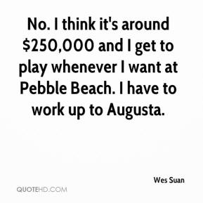 Wes Suan  - No. I think it's around $250,000 and I get to play whenever I want at Pebble Beach. I have to work up to Augusta.