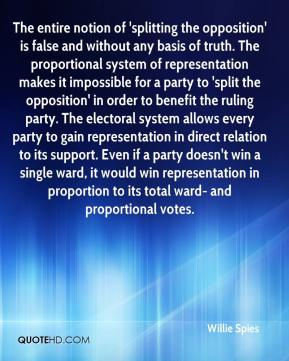 Willie Spies  - The entire notion of 'splitting the opposition' is false and without any basis of truth. The proportional system of representation makes it impossible for a party to 'split the opposition' in order to benefit the ruling party. The electoral system allows every party to gain representation in direct relation to its support. Even if a party doesn't win a single ward, it would win representation in proportion to its total ward- and proportional votes.