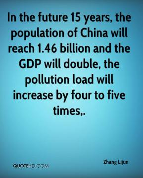 Zhang Lijun  - In the future 15 years, the population of China will reach 1.46 billion and the GDP will double, the pollution load will increase by four to five times.