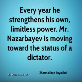 Zharmakhan Tuyakbai  - Every year he strengthens his own, limitless power. Mr. Nazarbayev is moving toward the status of a dictator.