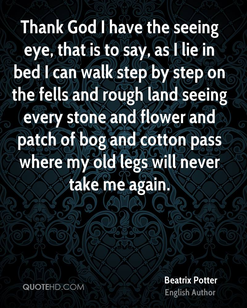 Thank God I have the seeing eye, that is to say, as I lie in bed I can walk step by step on the fells and rough land seeing every stone and flower and patch of bog and cotton pass where my old legs will never take me again.