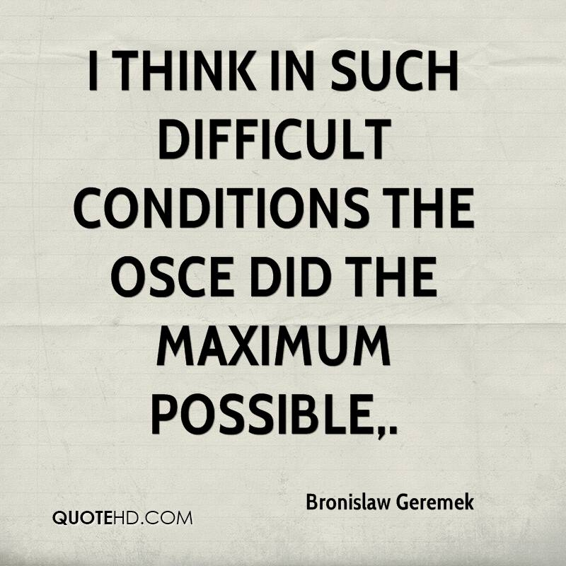 I think in such difficult conditions the OSCE did the maximum possible.