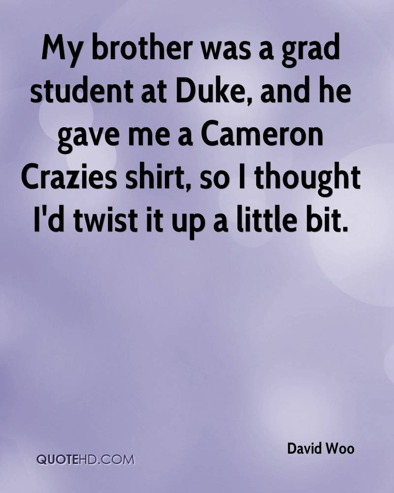 My brother was a grad student at Duke, and he gave me a Cameron Crazies shirt, so I thought I'd twist it up a little bit.