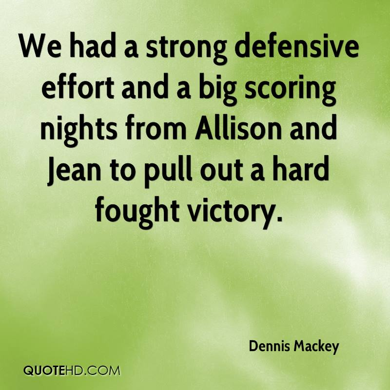 We had a strong defensive effort and a big scoring nights from Allison and Jean to pull out a hard fought victory.