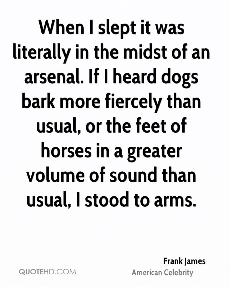 When I slept it was literally in the midst of an arsenal. If I heard dogs bark more fiercely than usual, or the feet of horses in a greater volume of sound than usual, I stood to arms.