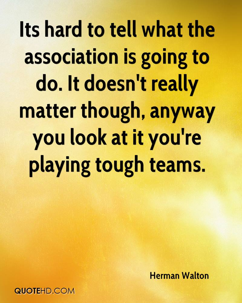 Its hard to tell what the association is going to do. It doesn't really matter though, anyway you look at it you're playing tough teams.