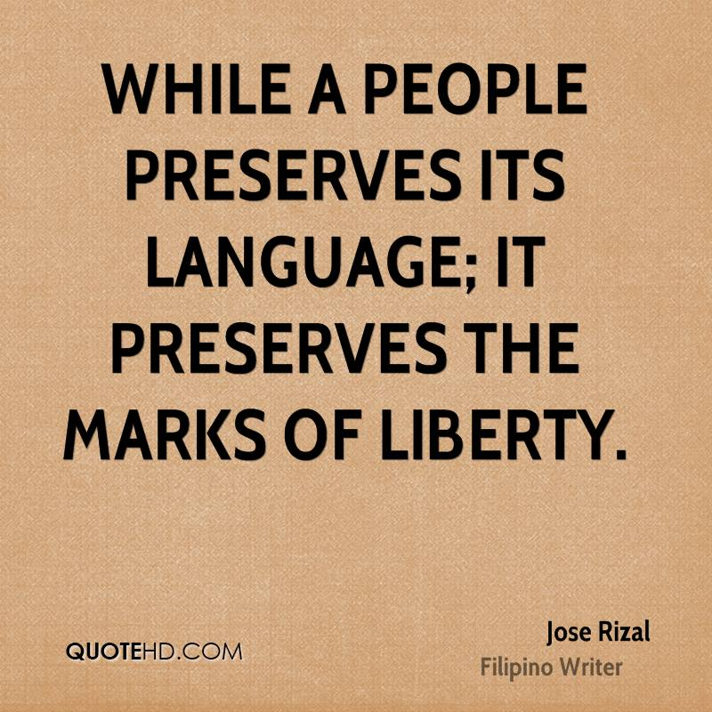 Jose Rizal Quotes on Tagalog Language
