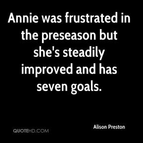Alison Preston - Annie was frustrated in the preseason but she's steadily improved and has seven goals.