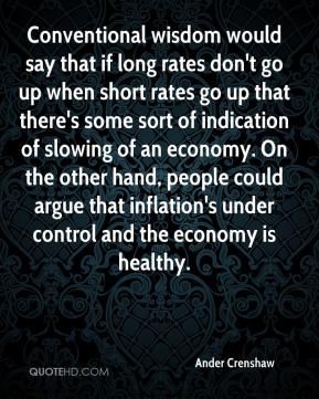 Ander Crenshaw - Conventional wisdom would say that if long rates don't go up when short rates go up that there's some sort of indication of slowing of an economy. On the other hand, people could argue that inflation's under control and the economy is healthy.