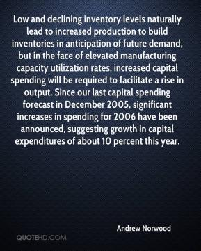 Andrew Norwood - Low and declining inventory levels naturally lead to increased production to build inventories in anticipation of future demand, but in the face of elevated manufacturing capacity utilization rates, increased capital spending will be required to facilitate a rise in output. Since our last capital spending forecast in December 2005, significant increases in spending for 2006 have been announced, suggesting growth in capital expenditures of about 10 percent this year.