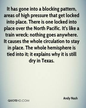 Andy Nash - It has gone into a blocking pattern, areas of high pressure that get locked into place. There is one locked into place over the North Pacific. It's like a train wreck; nothing goes anywhere. It causes the whole circulation to stay in place. The whole hemisphere is tied into it; it explains why it is still dry in Texas.