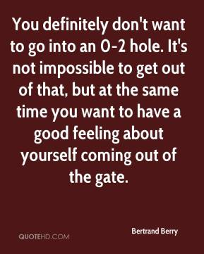 You definitely don't want to go into an 0-2 hole. It's not impossible to get out of that, but at the same time you want to have a good feeling about yourself coming out of the gate.