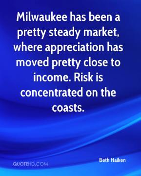 Beth Haiken - Milwaukee has been a pretty steady market, where appreciation has moved pretty close to income. Risk is concentrated on the coasts.
