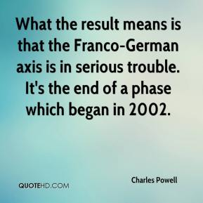 Charles Powell - What the result means is that the Franco-German axis is in serious trouble. It's the end of a phase which began in 2002.