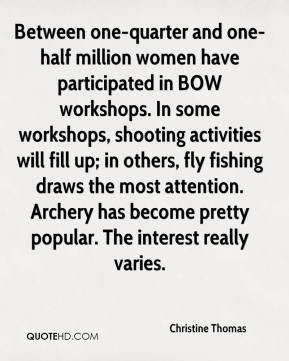 Christine Thomas - Between one-quarter and one-half million women have participated in BOW workshops. In some workshops, shooting activities will fill up; in others, fly fishing draws the most attention. Archery has become pretty popular. The interest really varies.