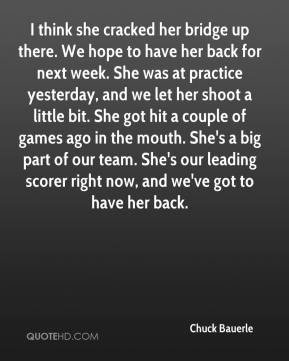 Chuck Bauerle - I think she cracked her bridge up there. We hope to have her back for next week. She was at practice yesterday, and we let her shoot a little bit. She got hit a couple of games ago in the mouth. She's a big part of our team. She's our leading scorer right now, and we've got to have her back.