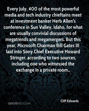 Cliff Edwards - Every July, 400 of the most powerful media and tech industry chieftains meet at investment banker Herb Allen's conference in Sun Valley, Idaho, for what are usually convivial discussions of megatrends and megamergers. But this year, Microsoft Chairman Bill Gates III laid into Sony Chief Executive Howard Stringer, according to two sources, including one who witnessed the exchange in a private room.