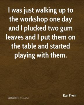 Dan Flynn - I was just walking up to the workshop one day and I plucked two gum leaves and I put them on the table and started playing with them.