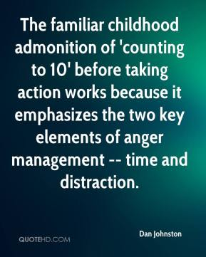 Dan Johnston - The familiar childhood admonition of 'counting to 10' before taking action works because it emphasizes the two key elements of anger management -- time and distraction.