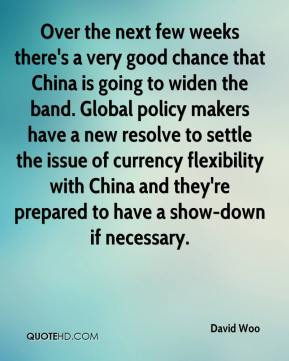 David Woo - Over the next few weeks there's a very good chance that China is going to widen the band. Global policy makers have a new resolve to settle the issue of currency flexibility with China and they're prepared to have a show-down if necessary.