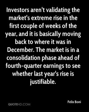 Investors aren't validating the market's extreme rise in the first couple of weeks of the year, and it is basically moving back to where it was in December. The market is in a consolidation phase ahead of fourth-quarter earnings to see whether last year's rise is justifiable.