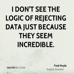I don't see the logic of rejecting data just because they seem incredible.
