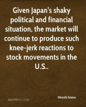 Given Japan's shaky political and financial situation, the market will continue to produce such knee-jerk reactions to stock movements in the U.S..