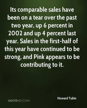 Howard Tubin - Its comparable sales have been on a tear over the past two year, up 6 percent in 2002 and up 4 percent last year. Sales in the first-half of this year have continued to be strong, and Pink appears to be contributing to it.